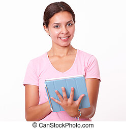 Cute latin girl using her tablet pc - Portrait of cute latin...