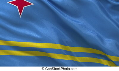 Flag of Aruba seamless loop - Flag of Aruba gently waving in...