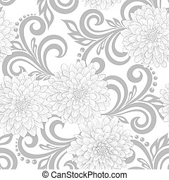 black and white seamless pattern with dahlia flowers and...