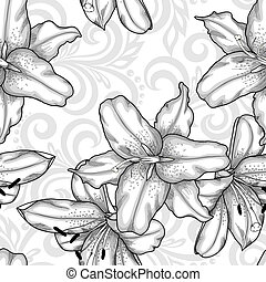 black and white seamless pattern with blue lilies flowers...
