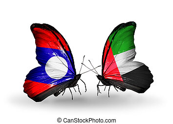 Two butterflies with flags on wings as symbol of relations Laos and United Arab Emirates