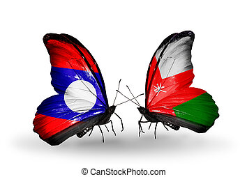 Two butterflies with flags on wings as symbol of relations Laos and Oman