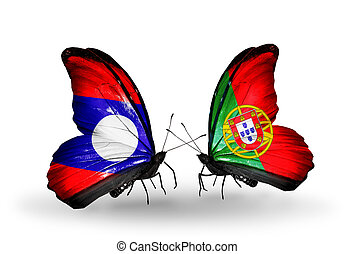 Two butterflies with flags on wings as symbol of relations Laos and Portugal