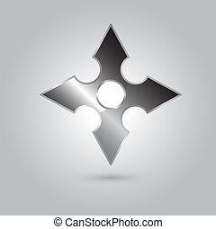Illustration of ninja stars, ninja and weapon, cartoon vector