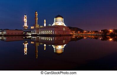 Kota Kinabalu city mosque at dawn in Sabah, East Malaysia,...