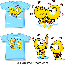 kid shirt with cute bees - isolated on white, back and front...