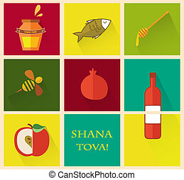 "Set of icons for Jewish holiday Rosh Hashana. ""Happy New..."