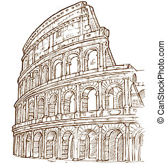 colosseum hand draw isolated on white background