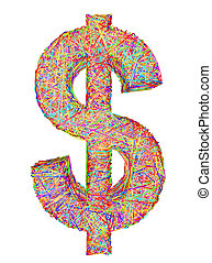 Dollar sign composed of colorful striplines isolated on white