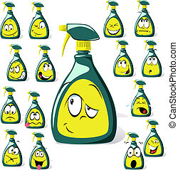 spray bottle cartoon with many expressions