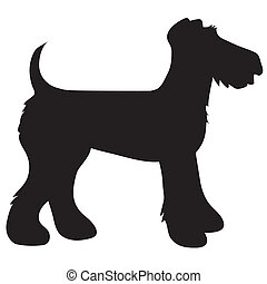 Airedale Terrier Silhouette - A cartoon black silhouette of...