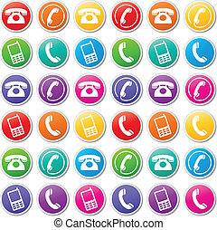 Vector phone icons - Vector illustration of various colorful...