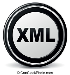 Vector xml icon - Vector illustration of xml metal icon on...