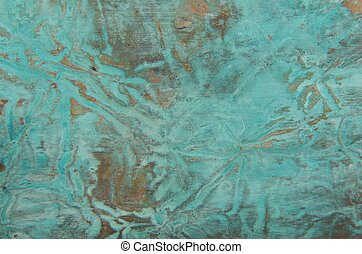 Abstract copper background with patina - Image of copper...