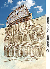 colosseum hand draw background