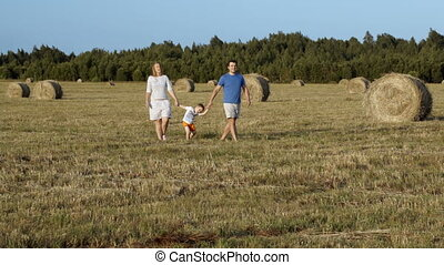 Family walking holding hands in the field