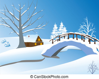 Winter landscape with cottage