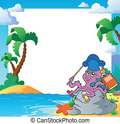 Beach frame with octopus teacher - eps10 vector illustration...
