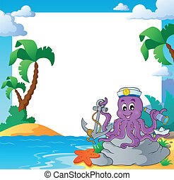Beach frame with octopus sailor - eps10 vector illustration