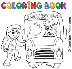 Coloring book school bus theme 2 - eps10 vector...
