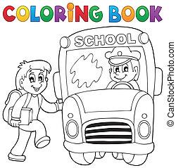 szkoła, Kolorowanie, Autobus, Temat,  2, książka