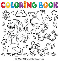 Coloring book with girl and kite - eps10 vector...