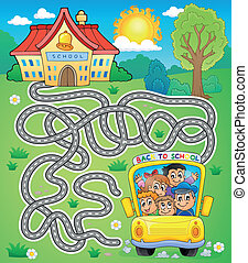 Maze 7 with school bus - eps10 vector illustration.
