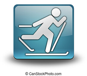 Icon, Button, Pictogram Cross-Country Skiing - Icon, Button,...