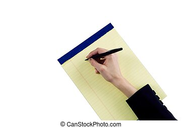 Female hand about to write on a legal pad