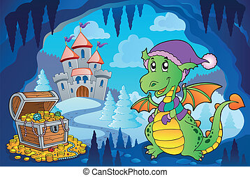 Winter cave with small dragon - eps10 vector illustration.