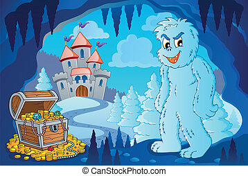 Winter cave with yeti - eps10 vector illustration