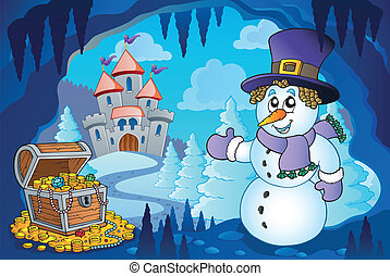 Winter cave with snowman - eps10 vector illustration.