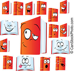 red book cartoon with many expressions
