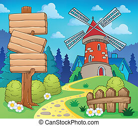 Scenery with sign and windmill - eps10 vector illustration