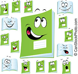 exercise book cartoon with many expressions