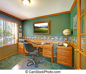 Green traditional home office.
