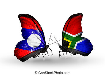 Two butterflies with flags on wings as symbol of relations Laos and South Africa