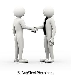 3d business people shaking hands illustration