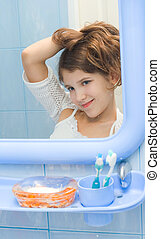 Teen girl in bathroom for your design