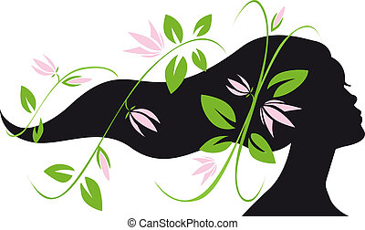 woman silhouette profile with long hair and flowers flowing