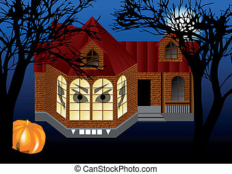 spooky house with pumkin abstract helloween background