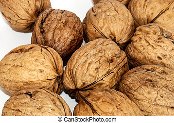 nuts - california nuts unpeeled. white Background