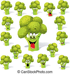 broccoli with many expressions