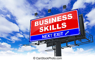 Business Skills on Red Billboard - Business Skills...