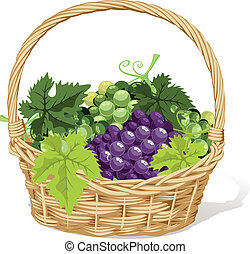 wine basket on white background