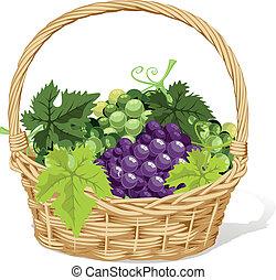 wine basket on white background