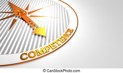 Competence on White with Golden Compass.