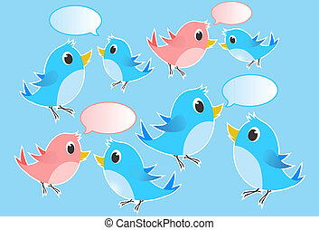 Birds chatting - Illustration - - Group of blue and pink...