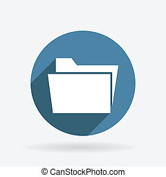 folder for documents. Circle blue icon