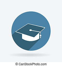graduate hat. Circle blue icon with shadow.